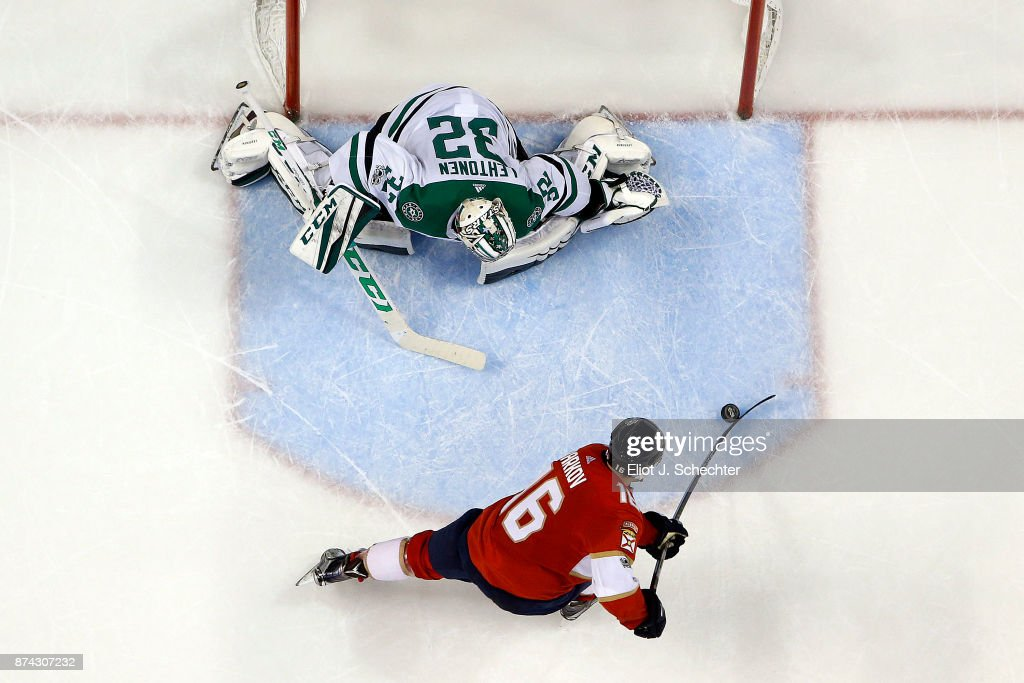 Aleksander Barkov #16 of the Florida Panthers scores in a shoot out against Goaltender Kari Lehtonen #32 of the Dallas Stars at the BB&T Center on November 14, 2017 in Sunrise, Florida.