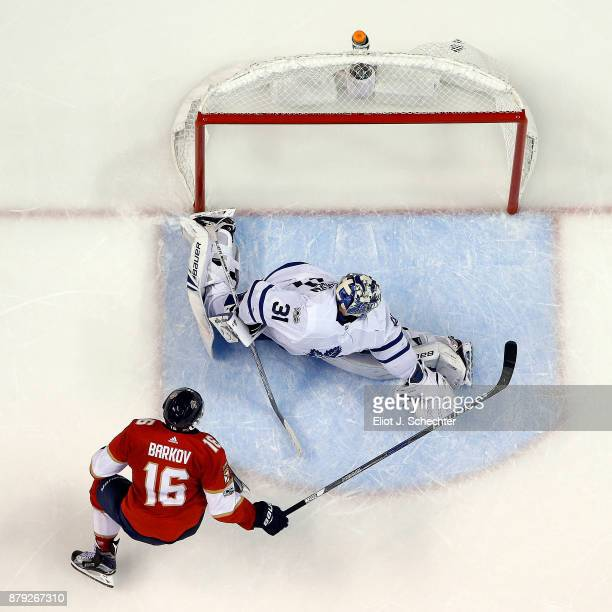 Aleksander Barkov of the Florida Panthers scores in a shoot out against Goaltender Frederik Andersen of the Toronto Maple Leafs at the BBT Center on...