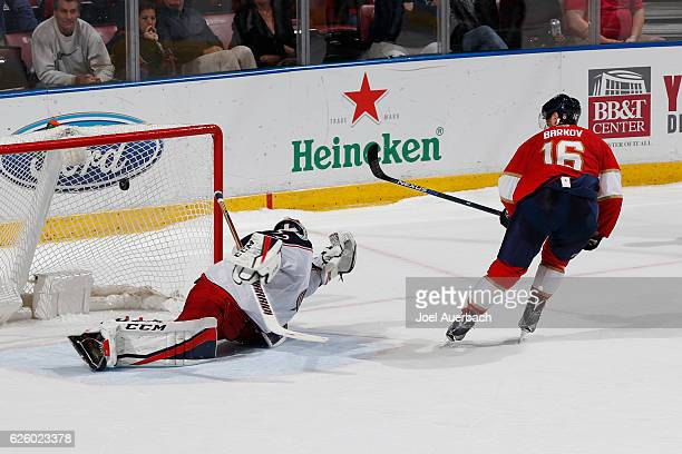 Aleksander Barkov of the Florida Panthers scores the winning goal over Goaltender Sergei Bobrovsky of the Columbus Blue Jackets in the shoot out at...