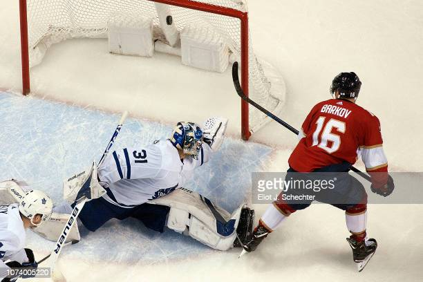 Aleksander Barkov of the Florida Panthers shoots and scores in overtime for the win against Goaltender Frederik Andersen of the Toronto Maple Leafs...