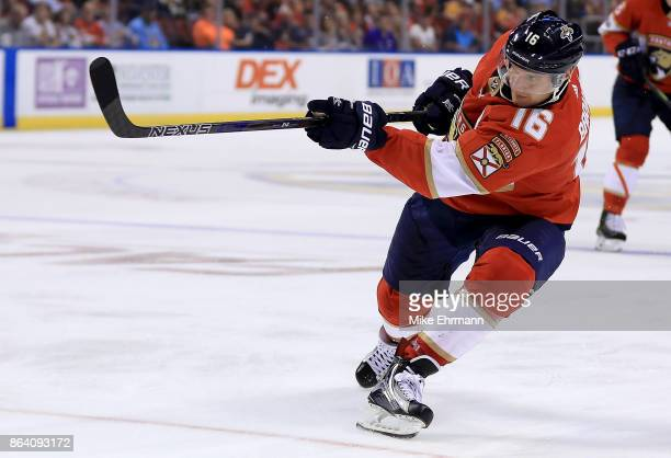 Aleksander Barkov of the Florida Panthers shoots during a game against the Pittsburgh Penguins at BBT Center on October 20 2017 in Sunrise Florida