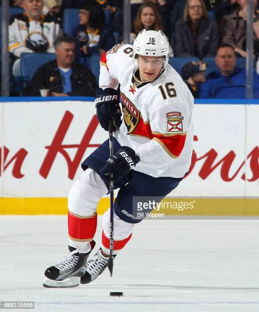 Aleksander Barkov of the Florida Panthers skates against the Buffalo Sabres during an NHL game at the KeyBank Center on March 27 2017 in Buffalo New...