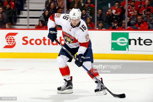 Aleksander Barkov of the Florida Panthers skates against the Calgary Flames during an NHL game on February 17 2018 at the Scotiabank Saddledome in...