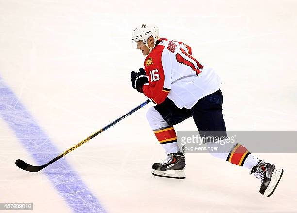 Aleksander Barkov of the Florida Panthers skates against the Colorado Avalanche at Pepsi Center on October 21 2014 in Denver Colorado The Panthers...