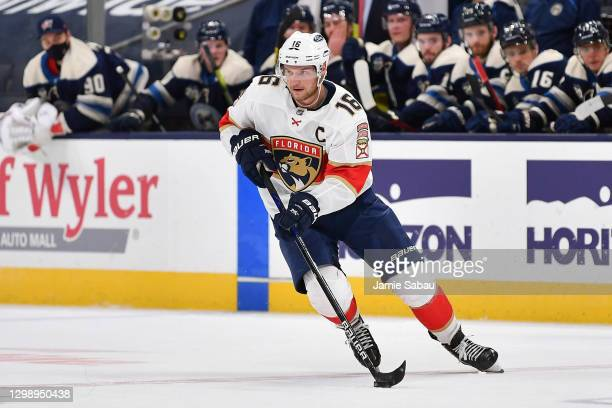 Aleksander Barkov of the Florida Panthers skates against the Columbus Blue Jackets on January 26, 2021 at Nationwide Arena in Columbus, Ohio.
