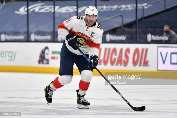Aleksander Barkov of the Florida Panthers skates against the Columbus Blue Jackets at Nationwide Arena on March 11, 2021 in Columbus, Ohio.