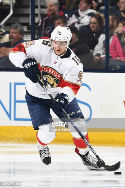 Aleksander Barkov of the Florida Panthers skates against the Columbus Blue Jackets on March 22 2018 at Nationwide Arena in Columbus Ohio Aleksander...