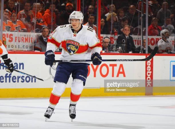 Aleksander Barkov of the Florida Panthers skates against the Philadelphia Flyers at the Wells Fargo Center on March 2 2017 in Philadelphia...