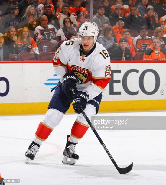 Aleksander Barkov of the Florida Panthers skates against the Philadelphia Flyers at the Wells Fargo Center on March 2 2017 in Philadelphia...