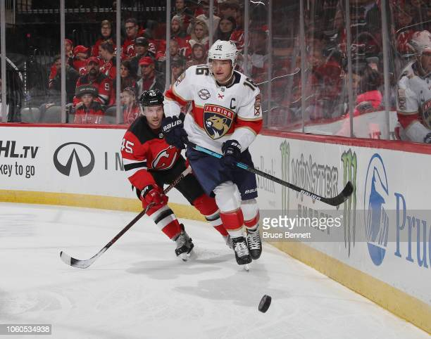Aleksander Barkov of the Florida Panthers skates against the New Jersey Devils at the Prudential Center on October 27 2018 in Newark New Jersey The...