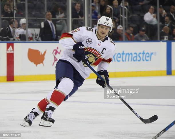 Aleksander Barkov of the Florida Panthers skates against the New York Rangers at Madison Square Garden on October 23 2018 in New York City The...