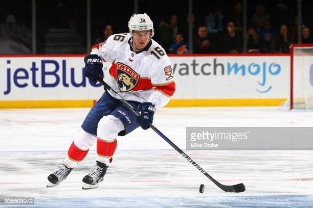 Aleksander Barkov of the Florida Panthers skates against the New York Islanders at Barclays Center on March 26 2018 in New York City Florida Panthers...
