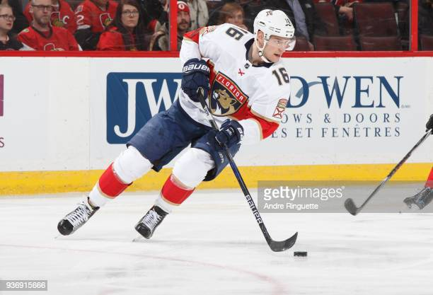 Aleksander Barkov of the Florida Panthers skates against the Ottawa Senators at Canadian Tire Centre on March 20 2018 in Ottawa Ontario Canada