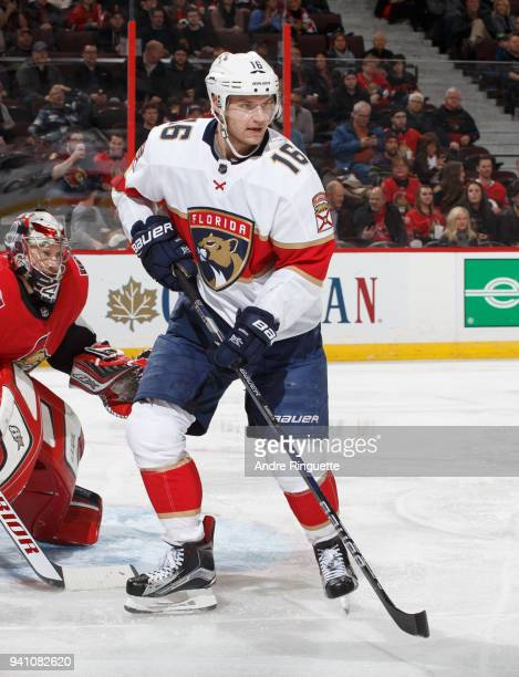 Aleksander Barkov of the Florida Panthers skates against the Ottawa Senators at Canadian Tire Centre on March 29 2018 in Ottawa Ontario Canada