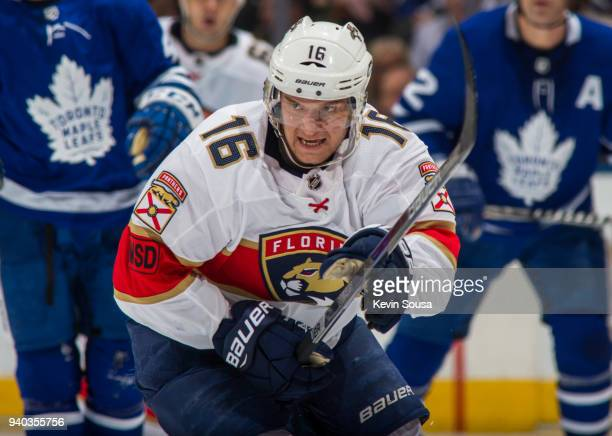 Aleksander Barkov of the Florida Panthers skates against the Toronto Maple Leafs during the third period at the Air Canada Centre on March 28 2018 in...