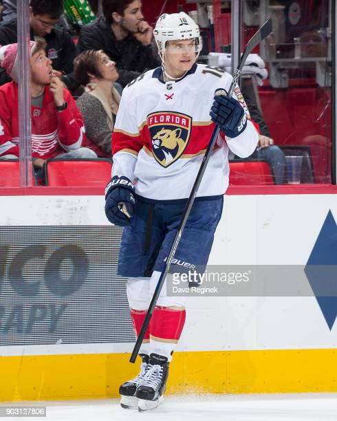 Aleksander Barkov of the Florida Panthers skates around on a play stoppage against the Detroit Red Wings during an NHL game at Little Caesars Arena...