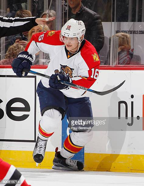 Aleksander Barkov of the Florida Panthers skates during an NHL hockey game against the New Jersey Devils at Prudential Center on December 6 2015 in...