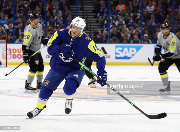 Aleksander Barkov of the Florida Panthers skates during the 2018 Honda NHL AllStar Game between the Atlantic Division and the Metropolitan Divison at...