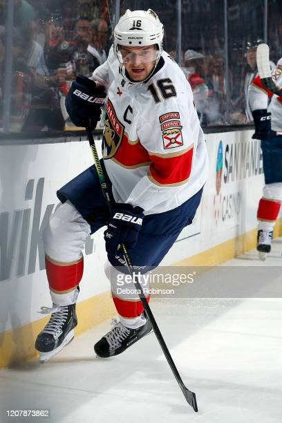 Aleksander Barkov of the Florida Panthers skates during the game against the Anaheim Ducks at Honda Center on February 19, 2020 in Anaheim,...