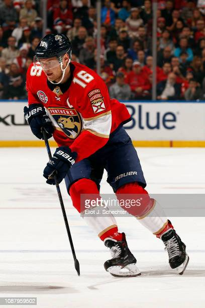 Aleksander Barkov of the Florida Panthers skates for position against the Montreal Canadiens at the BBT Center on December 28 2018 in Sunrise Florida