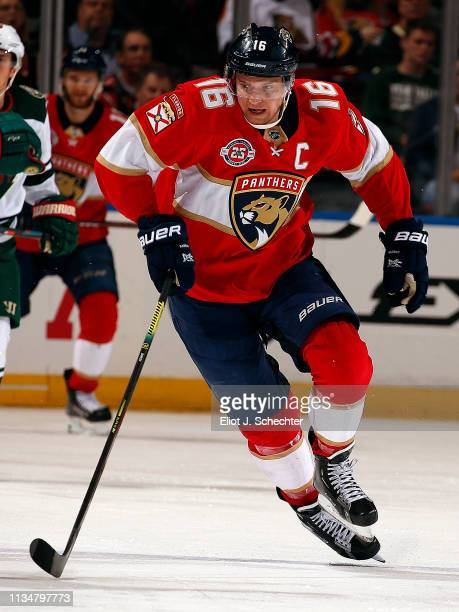 Aleksander Barkov of the Florida Panthers skates for position against the Minnesota Wild at the BBT Center on March 8 2019 in Sunrise Florida