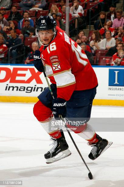 Aleksander Barkov of the Florida Panthers skates for position against the Arizona Coyotes at the BBT Center on March 21 2019 in Sunrise Florida
