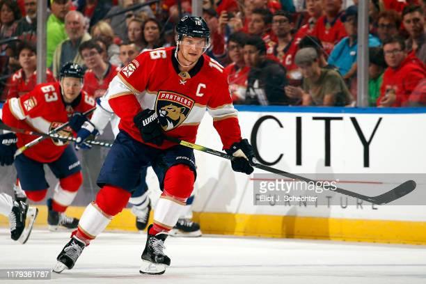 Aleksander Barkov of the Florida Panthers skates for position against the Tampa Bay Lightning at the BB&T Center on October 5, 2019 in Sunrise,...