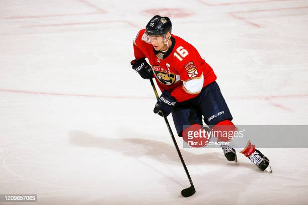 Aleksander Barkov of the Florida Panthers skates for position against the Chicago Blackhawks at the BB&T Center on February 29, 2020 in Sunrise,...