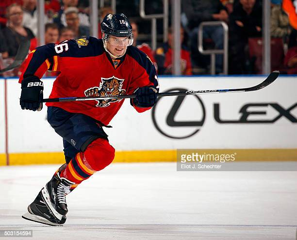 Aleksander Barkov of the Florida Panthers skates for position against the Columbus Blue Jackets at the BBT Center on December 27 2015 in Sunrise...