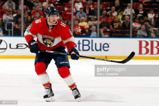 Aleksander Barkov of the Florida Panthers skates for position against the Arizona Coyotes at the BBT Center on March 23 2017 in Sunrise Florida
