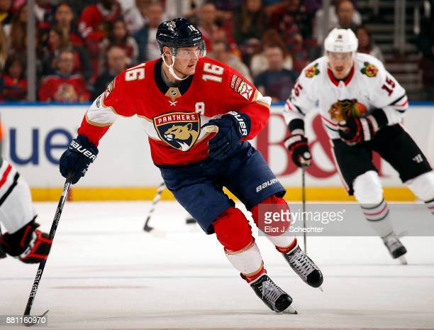 Aleksander Barkov of the Florida Panthers skates for position against the Chicago Blackhawks at the BBT Center on November 25 2017 in Sunrise Florida