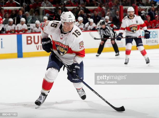 Aleksander Barkov of the Florida Panthers skates for position on the ice during an NHL game against the Carolina Hurricanes on December 3 2017 at PNC...