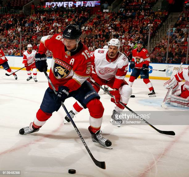 Aleksander Barkov of the Florida Panthers skates for possession against Jonathan Ericsson of the Detroit Red Wings at the BBT Center on February 3...