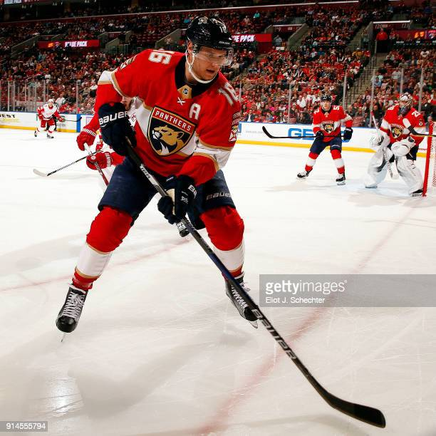 Aleksander Barkov of the Florida Panthers skates for possession against the Detroit Red Wings at the BBT Center on February 3 2018 in Sunrise Florida