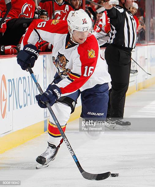 Aleksander Barkov of the Florida Panthers skates in an NHL hockey game against the New Jersey Devils at Prudential Center on December 6 2015 in...