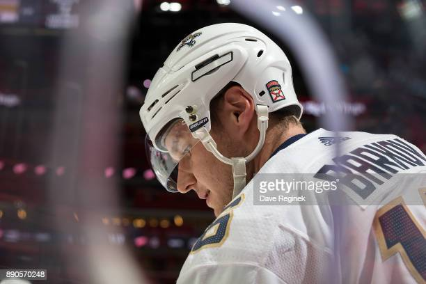 Aleksander Barkov of the Florida Panthers skates in warmups prior to an NHL game against the Detroit Red Wings at Little Caesars Arena on December 11...