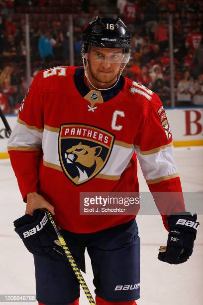 Aleksander Barkov of the Florida Panthers skates off the ice after warm ups prior to the start of the game against the Edmonton Oilers at the BB&T...