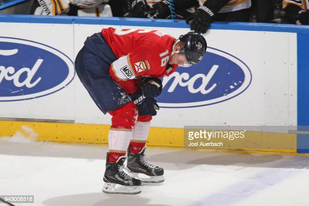 Aleksander Barkov of the Florida Panthers skates off the ice after being injured during third period action against the Boston Bruins at the BBT...