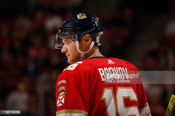 Aleksander Barkov of the Florida Panthers skates on the ice during a break in the action against the New York Islanders at the BB&T Center on...
