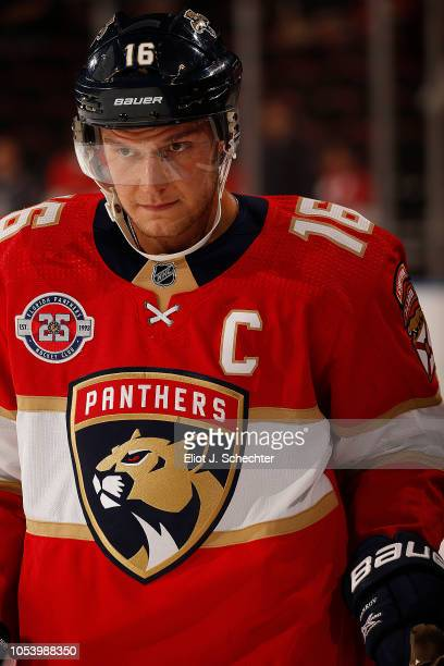 Aleksander Barkov of the Florida Panthers skates on the ice during warm ups prior to the start of the game against the Columbus Blue Jackets at the...