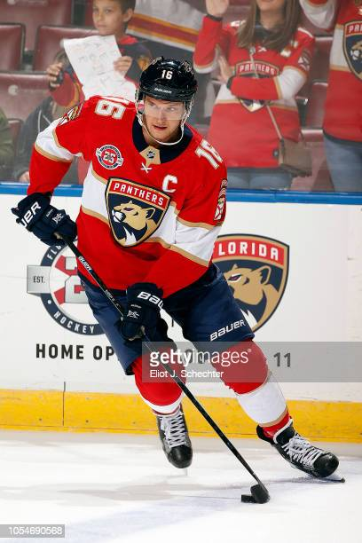 Aleksander Barkov of the Florida Panthers skates on the ice during warm ups prior to the start of the game against the Vancouver Canucks at the BBT...