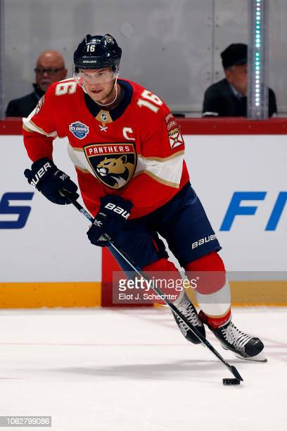 Aleksander Barkov of the Florida Panthers skates on the ice during warm ups against the Winnipeg Jets in the 2018 NHL Global Series at the Hartwall...