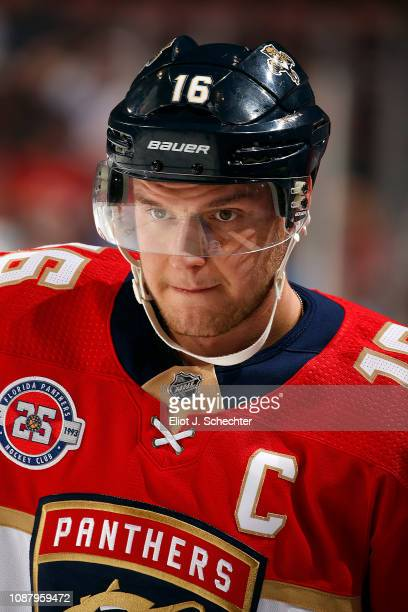 Aleksander Barkov of the Florida Panthers skates on the ice during warm ups prior to the start of the game against the Montreal Canadiens at the BBT...