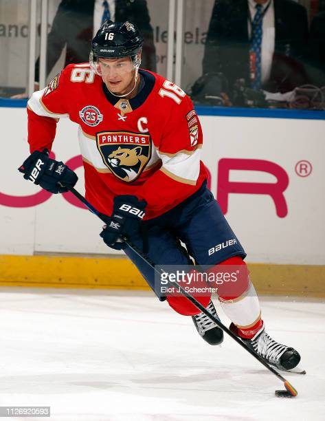 Aleksander Barkov of the Florida Panthers skates on the ice during warm ups prior to the start of the game against the Nashville Predators at the BBT...