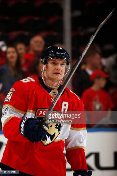 Aleksander Barkov of the Florida Panthers skates on the ice during warm ups against the Ottawa Senators at the BBT Center on March 12 2018 in Sunrise...
