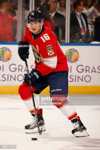 Aleksander Barkov of the Florida Panthers skates on the ice for warm ups prior to the start of the game against the Tampa Bay Lightning at the BBT...