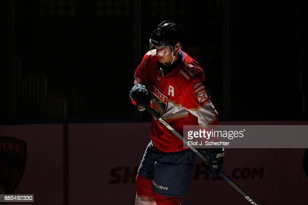Aleksander Barkov of the Florida Panthers skates on the ice prior to the start of the game against the San Jose Sharks at the BBT Center on December...