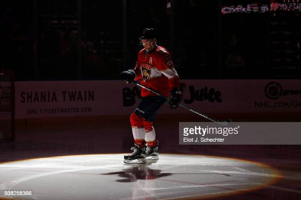 Aleksander Barkov of the Florida Panthers skates on the ice prior to the start of the game against the Arizona Coyotes at the BBT Center on March 24...