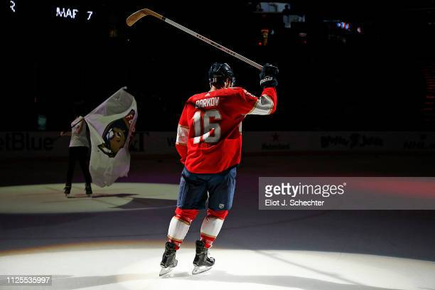 Aleksander Barkov of the Florida Panthers skates on the ice to salute the fans after scoring a hat trick to help his team win 63 against the Montreal...