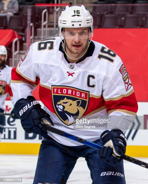 Aleksander Barkov of the Florida Panthers skates up ice during an NHL game against the Detroit Red Wings at Little Caesars Arena on January 30, 2021...